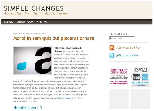 Simple Changes Wordpress Theme